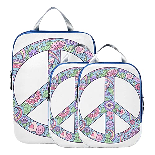 Organizer per imballaggio Colorful Peace Sign Happiness Packing Cubes Set da viaggio Organizer per bagagli espandibile per bagaglio a mano, viaggio (set di 3)