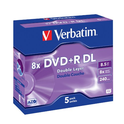 Verbatim DVD+R Double Layer 8.5GB 8X matt Silver Surface Jewelcase Pack 5