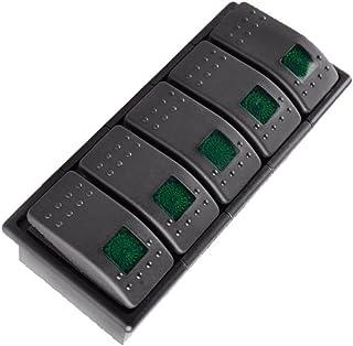 Mintice 5 Stück KFZ Kippschalter Druckschalter Schalter Wippschalter Wasserdicht 12V 20A 24V 10A Grün LED Licht 4Pin AN/AUS Schalterhalter