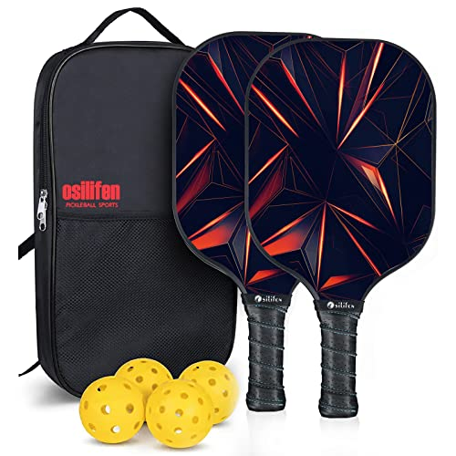 Osilifen Pickleball Paddles Set, Graphite Pickleball Raquette Set of 2 Rackets and 4 Balls, Lightweight Pickleball Paddle with Ergonomic Grip, 1 Carry Bag, Pickleball Racket Set for Men and Women