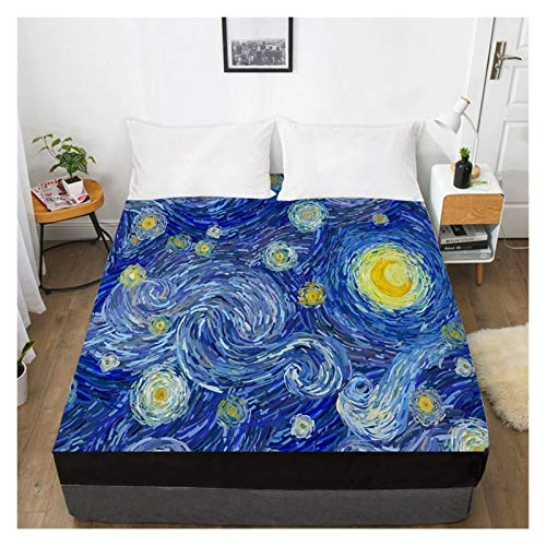 RHBLHQ spänn lakan 3D-lakan med sträckblad, dubbelmadrasskåpa 135/150 / 180/200 / 160x200 sängkläder (Color : 13, Size : 135x200 Deep 30cm)