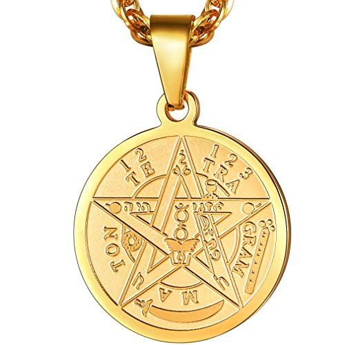 PROSTEEL Tetragrammaton Pentacle Necklace Eliphas Levi's Pentagram Protection Charm Amulet Wiccan Magical,Gold Star Pendant Hiphop Chain,The Ancient Power Name of God