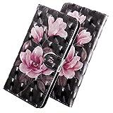 ShinyHülle PU Leder Handyhülle für LG Q7/Q7 Plus/Q7a Folio Tasche Glattes Muster Glitter 3D Bunt Brieftasche Wallet Flip Ledertasche im Brieftasche-Stil Pinke Blume Muster Handytasche für LG Q7 5.5