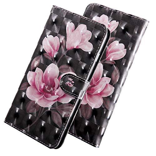 ShinyHülle PU Leder Handyhülle für Xiaomi Pocophone F1 6.18-Zoll Glattes Glitzer 3D Bunt Brieftasche Wallet Flip Ledertasche Brieftasche-Stil Pinke Blume Muster Handytasche für Xiaomi Pocophone F1