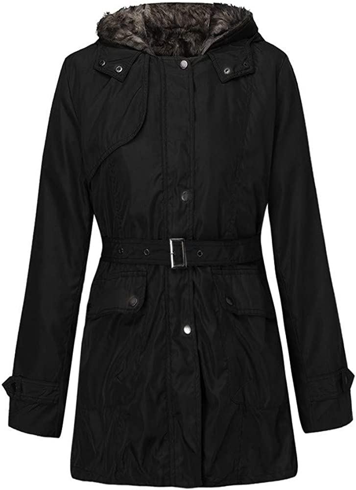 Swyss Womens Military Hooded Warm Winter Faux Fur Lined Parkas Anroaks Long Coats Outwear with Belt