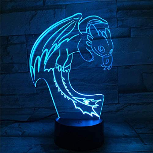 3D Illusion Lampsmart Bluetooth Colour Ambiance Portable Light How to Train Your Dragon Night Light Led 3D Illusion USB Touch Sensor Rgbw Child Kids Gift Night Fury Table Lamp Desk Decoration
