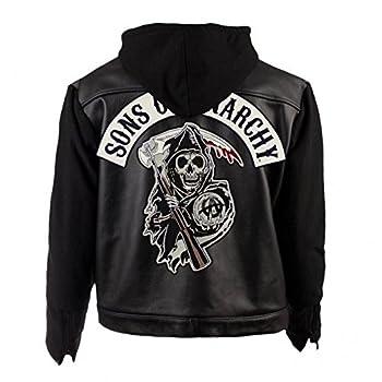 Veste de moto à capuche noire en cuir synthétique Sons of Anarchy - Noir - Medium