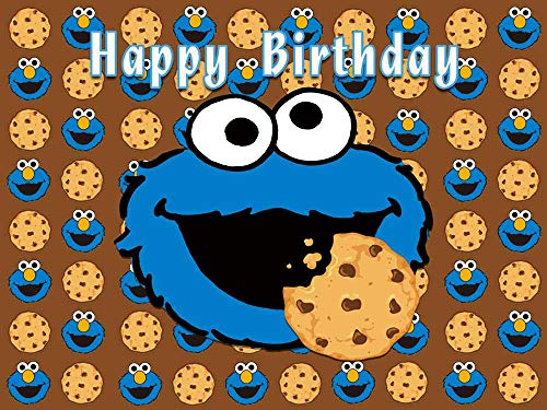 Sesame Street Cookie Monster Theme Photography Backdrop For Kids Happy Birthday Party Decoration Photo Background Children Baby Shower Cake Dessert Table Studio Decor Supplies Banner Photo Props