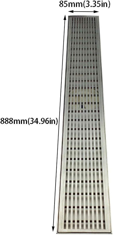 GXJ 35-Zoll-Duschablaufrinne mit Flieseneinsatzgitter, professioneller rechteckiger Duschablauf aus gebürstetem Edelstahl 304, bodengleicher Duschablauf mit Nivellierfüen, Haarsieb