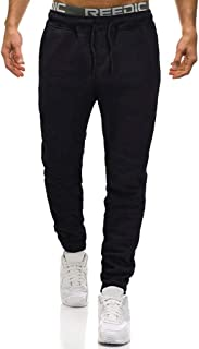 ASIbeiul Men's Casual Solid Color Drawstring Overalls Pocket Sports Loose Fit Work Pants Trousers