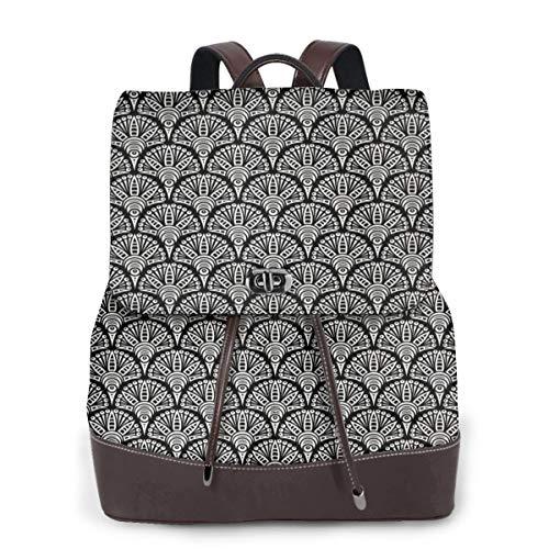 SGSKJ Rucksack Damen Fischschuppen Orientalisches Motiv, Leder Rucksack Damen 13 Inch Laptop Rucksack Frauen Leder Schultasche Casual Daypack Schulrucksäcke Tasche Schulranzen