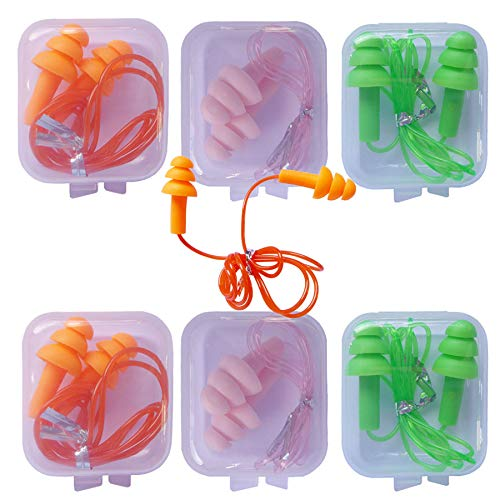 6 Pair Reusable Silicone Ear Plugs, Waterproof, Ultra Comfortable Noise Reduction...