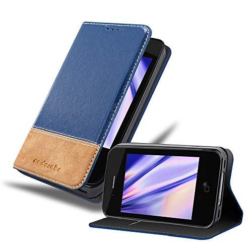 Cadorabo Coque pour Apple iPhone 4 / iPhone 4S en Bleu Brun - Housse Protection avec Fermoire Magnétique, Stand Horizontal et Fente Carte - Portefeuille Etui Poche Folio Case Cover