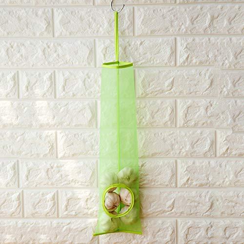 Dispensador de bolsas de plástico Dispensador de bolsas de basura de malla Bolsa de almacenamiento colgante Contenedor de frutas y verduras Organizador de cocina - Verde