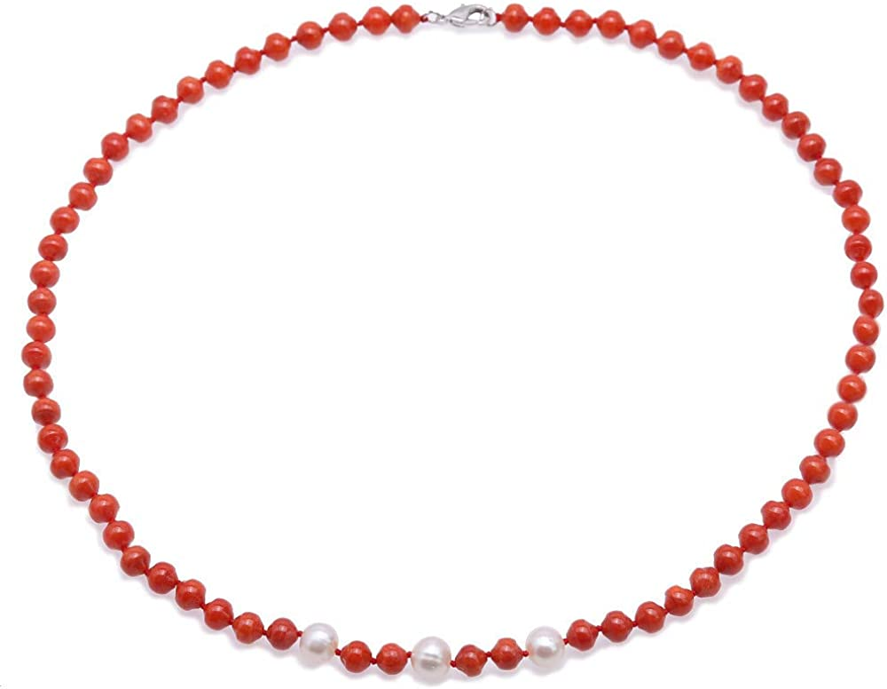 JYX Pearl Strand Necklace Natural 6-6.5mm Irregular Sea Bamboo Coral with Freshwater Pearl Necklace 19