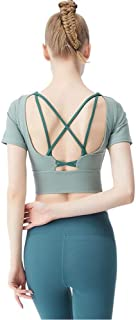 Khouses Women's summer with chest pad beautiful back short-sleeved T-shirt yoga clothes sports shirt fitness clothes (Color : Green, Size : M)
