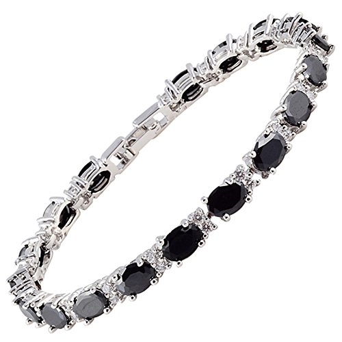 Rizilia Eternity Tennis Bracelet [18cm/7inch] with Oval Cut Gemstones CZ [Black Onyx] in 18K White Gold Plated, Simple Modern Elegance