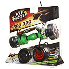 Perform extreme stunts & jumps! Launch 2 FlyWheels at the same time! Rip it up to 200 scale MPH! Jumps up to 30 feet in the air with the Fly Wheels Stunt Ramp! (sold separately) Includes: 1 Launcher, 1 Ripcord, 4 unique wheel types - each different i...