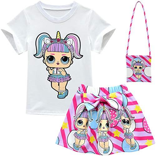 Baby Cute Dolls Konfetti Pop Tshirt + Rock + Tasche + Hut für Mädchen Lil Outrageous Little Girl Dress (style3, 140 (7-8 Jahre))