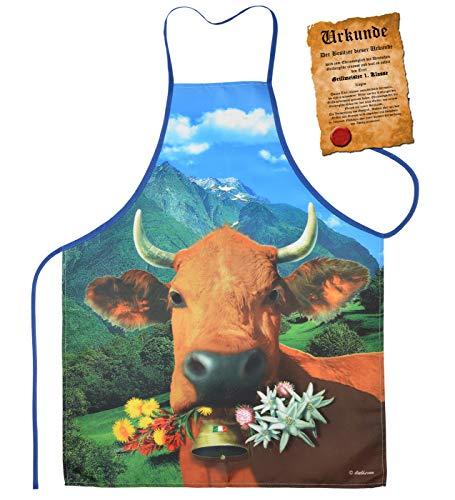 Mega grote schort BBQ schort kookschort met certificaat - Italiaanse bruine koe - grappig grappig artikel voor elke gelegenheid carnaval cadeau-idee