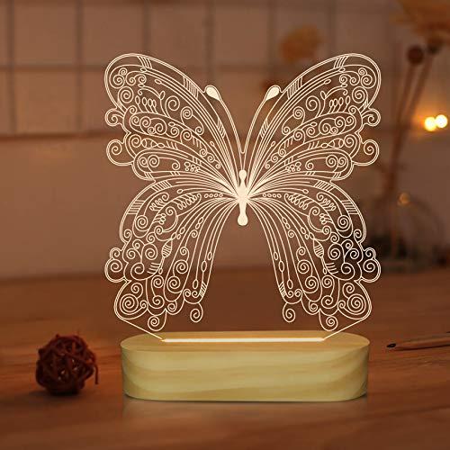 Lámpara de ilusión óptica 3D Luz de noche de mariposa para niños Regalos de decoración de dormitorio de niña bebé, Colores blancos cálidos suaves Lámpara de mesa de noche con base de madera