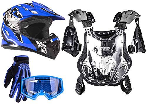 Typhoon Youth Dirt Bike Motocross ATV Helmet Gloves Goggles Chest Protector Combo - Blue (XL)