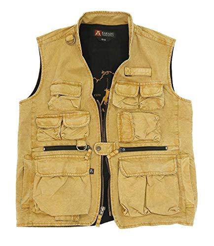 Kakadu Traders Australia Chaleco de exterior Delta con bolsillos interiores ocultos y funda en color mostaza. mostaza XXXL