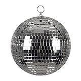 Boland 00703 - Bola de Discoteca, Plata, diámetro Aprox. 20 cm, diseño de Hadas de los años 70, decoración Colgante, Bola de Purpurina, Fiesta temática, Carnaval