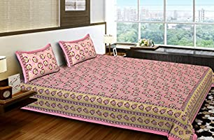 BhagwatiUdyog King Size Block Print Double Bedsheet Cotton with Pillow Cover