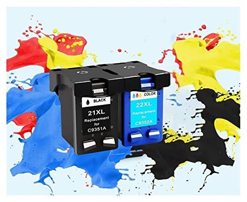 TZZD Cartucho de tinta rellenado de repuesto para HP 21xl 22 para HP 21 para Hp21 Deskjet F2180 F2280 F4180 F4100 F2100 F2200 (color: 1bk 1color)