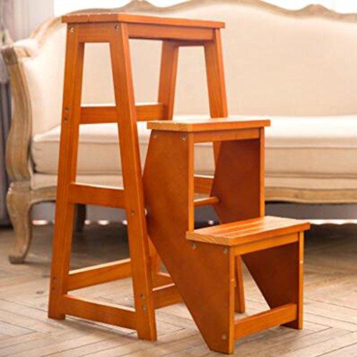 ZfgG Chaise Pliante en Bois Massif à échelle à 3 Niveaux Escabeau Escabeau Escabeau Tabouret Échelle Domestique Échelle de Rangement Multicouche Escabeaux à Double Usage (Color : Light Walnut)
