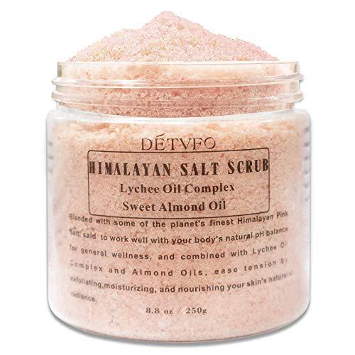 ALINICE Himalaya-Salz-Körperpeeling mit Lychee Oil Complex und Süßmandelölen, Peeling-Salzpeeling zum Peeling und Befeuchten der Haut, Tiefenreinigung - 8,8 Unzen