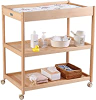 ZCF Baby change diaper Baby Diaper Table, Solid Wood Plenty of Storage Baby Massage Bathe Changing Clothes Station With Lockable Wheels Nappy Changing Sets (Size : 89x58x95cm)