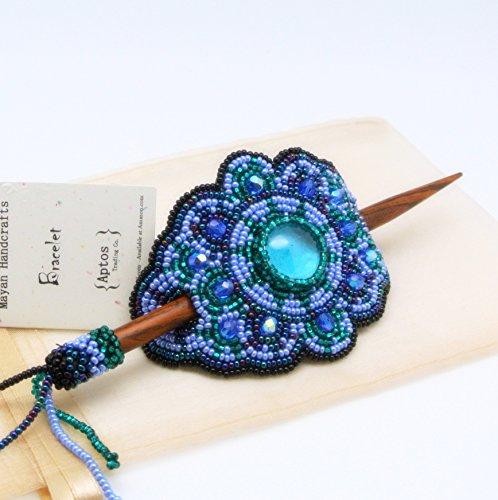 Superbe barrette à cheveux en perles avec bâton en bois (bleu).