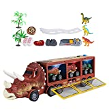 Yahunosu Dinosaur Truck Toys Transporter Carrier Set Modelo de Dinosaurio Transportador de Almacenamiento con música Luz Juguetes Divertidos Regalos para niños 16PCS Marrón