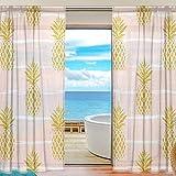 Vinlin Fenstervorhang Ananas-Muster Voile Gardine für Schlafzimmer Wohnzimmer 2 Paneele 139,7 x 198 cm, Multi, 55x78x2(in)