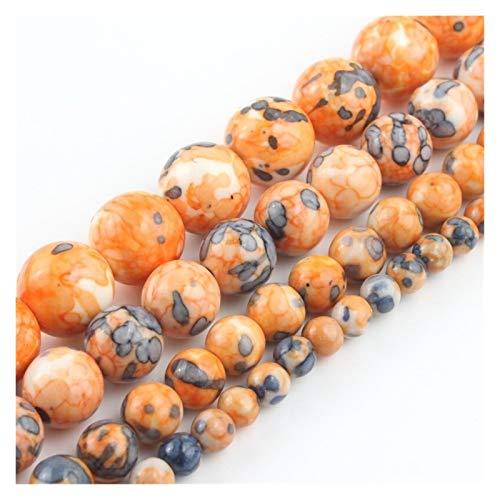 HETHYAN 4 mm - 12 mm de piedra natural naranja azul con lunares de flor de lluvia Jasper cuentas redondas para hacer joyas, collar y pulsera de 15 pulgadas (tamaño: 4 mm)