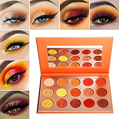 Red Orange Eyeshadow Palette Sunset 15 Color,Afflano Pro Highly Pigmented Glam Fall Eye Shadow Makeup Palettes,Nudetude Neutral Brown Yellow Gold Warm,Matte Glitter Shimmer Metallic Eyeshadow Pallet