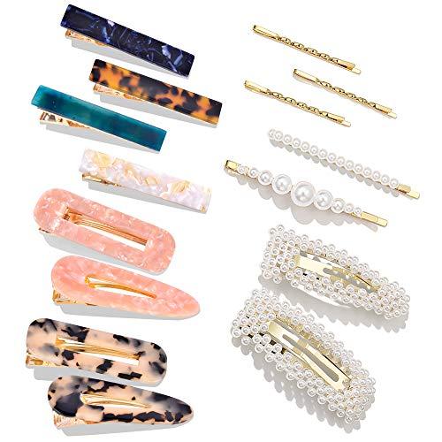 15 PCS Pearls Hair Clips-Cehomi Fashion Korean Style Acrylic Resin Hair Barrettes Hair Clip Hairpins for Women and Ladies Girls Headwear Styling Tools Hair Accessories
