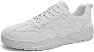 XUJW-Shoes, Fashion Skateboarding Sneaker for Men Athletic Sports Flat Shoes Lace Up Faux Suede Leather Outdoor Running Durable Comfortable Walking Shopping (Color : Gray, Size : 7.5 UK)