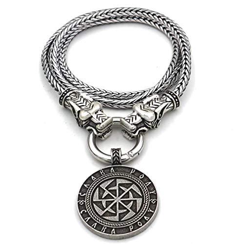 WLQWER Wikinger Rune Halskette Irland Religion Retro Schutz Amulett Sonnenrad Anhänger, Heidnischer Schmuck Gothic Vintage Style, Für Männer,80cm
