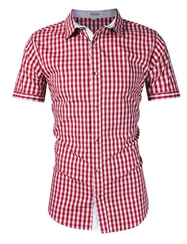KOJOOIN Herren Trachtenhemd Slim fit kariert Langarmhemd Bestickt Baumwolle- (Verpackung MEHRWEG), Rot-kurzarm-2019, Gr.- M / 36