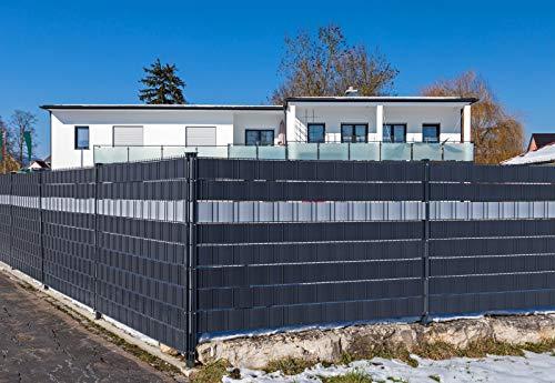 Premium Zaunsichtschutz HART-PVC / 9 x Streifen 2,525 m (1,76 EUR/m) / Höhe 19 cm Fenstergrau - Zaun Sichtschutzstreifen Fachhandelsware für Doppelstabmattenzaun Zaun Sichtschutz grau- keine Folie