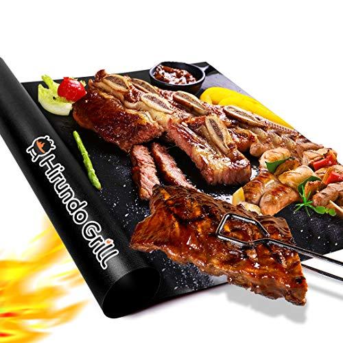 Hirundo Grillmatte 2er Set für Outdoor BBQ Gasgrill - Antihaft, Wiederverwendbare Grill-Pads, Leicht zu reinigen, Heavy Duty-Arbeiten auf Elektrogrill Gas - 40,6 x 33 cm, Schwarz