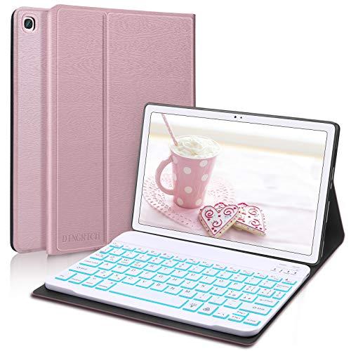 D DINGRICH Tastiera Custodia per Tablet Samsung A7 10.4, Cover con Tastiera Italiana 7 Colori Retroilluminata Rimovibile Wireless Magnetica per Samsung Galaxy Tab A7 2020 SM-T500/T505, Oro Rosa