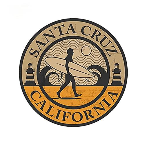 ZCZWQ Etiqueta engomada del Coche del estilizador de Coches Santa Cruz California Etiqueta de Vinilo Portátil Coche Surf USA Impermeable 13cm x 13cm Etiqueta engomada de la decoración del Coche