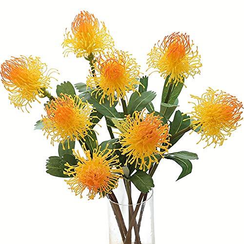 Fefaxi Künstliche Kunststoff Nadelkissen Blumen, künstliche gefälschte Seide Nadelkissen Nadel Blume Simulation Kunststoff Blume Home Pflanze Wand Dekor (gelb)