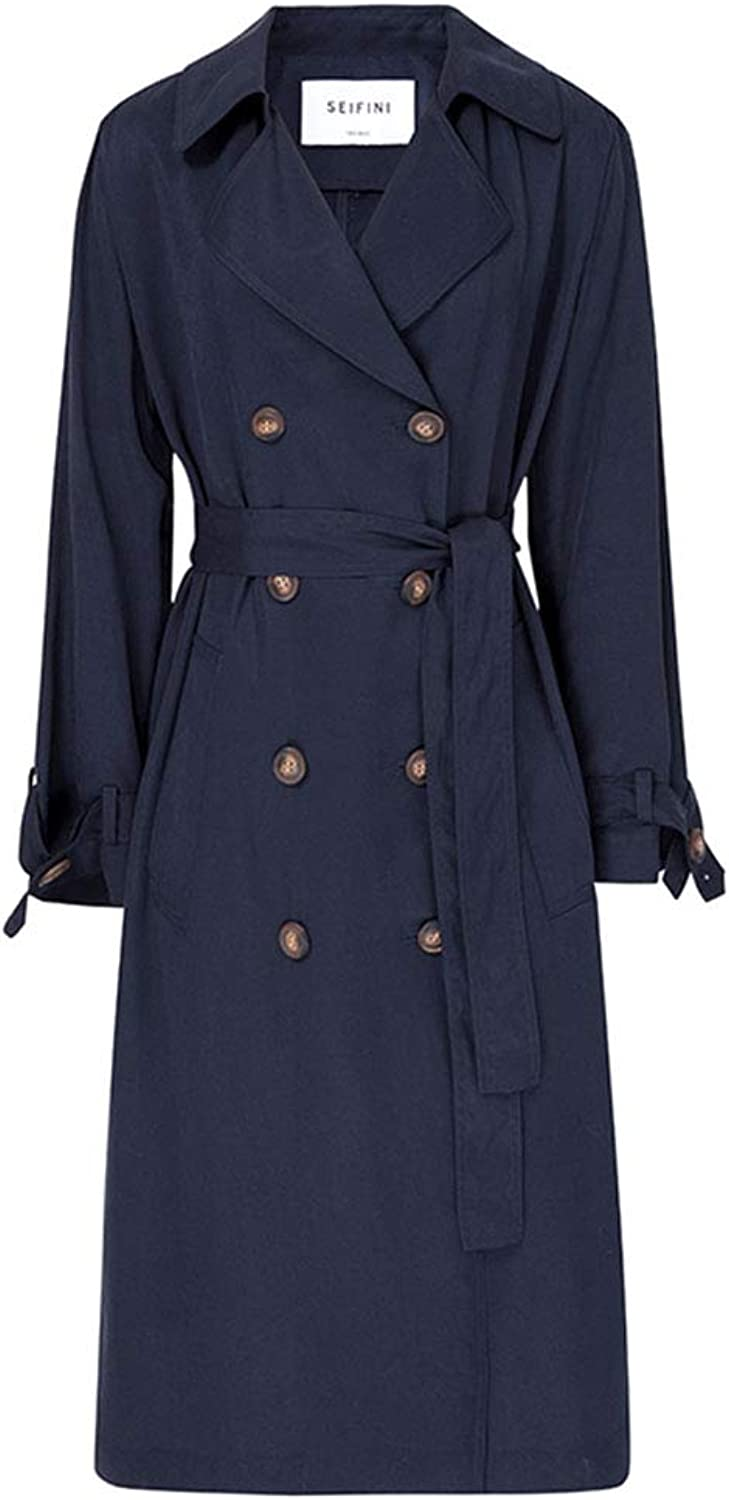 Trench Coat Women's Long Trench Coat Lapel Jacket Spring Thin Jacket Double Breasted Detachable Belt (color   bluee, Size   M)