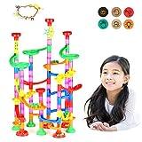 Queta Marble Run Kugelbahn, 109pcs Mehrfarbige Konstruktionsbausteine DIY Bausteine mit Bahnelementen und Glasmurmeln pädagogisch für Kinder Spielzeug (3+ Jahre) - 3