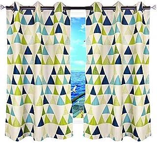 MYRU 2 Panels Set Geometric Triangle Grommet Top Room...
